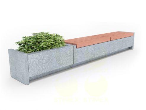 Скамья парковая C48 (С48) с боковинами из архитектурного бетона с подсветкой