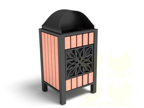 Урна металлическая для мусора с кованым декором