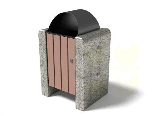 Урна для мусора уличная U1 (У1) с каменными элементами
