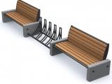 """Комплект МАФ - лавочки со спинками и велопарковка - можно использовать для остановки. Программа """"Город"""" комплект 91"""